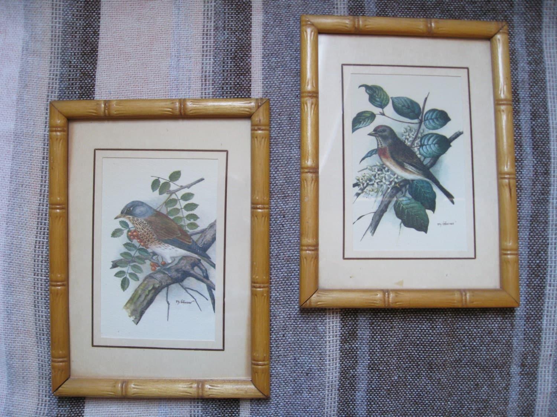 Framed Bird Print Pair Ph Gommer