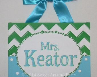 Personalized Chevron teacher name sign classroom wall art teacher gift teacher door sign teacher name art green turquoise white dots custom