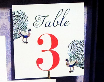 10 Peacock Table Number Cards