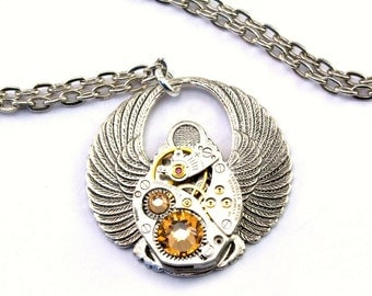 Steampunk Scarab Topaz Necklace November Birthstone Egyptian Style Wings Clockwork Beetle Jewelry Steam Punk Designed by London Particulars