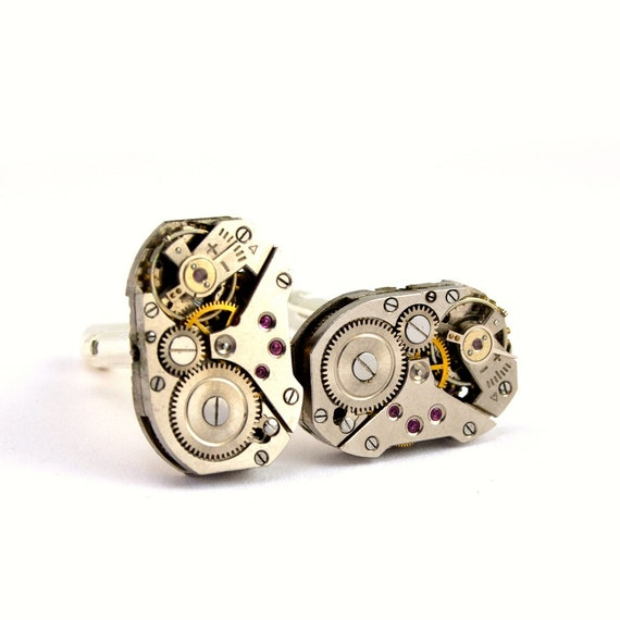 Steampunk Cufflinks - Handsome Men's Clockwork Cuff Links Design - PROMPTLY SHIPPED - Steampunk Jewelry By London Particulars