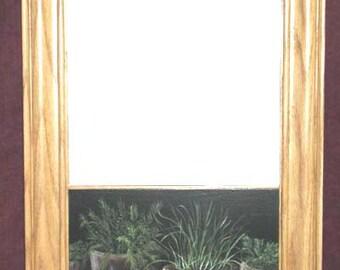 Oak wall mirror, harwood framed, mirror custom portrait, mirror acrylic portrait