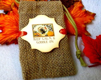 Burlap favor bags - Thanksgiving favor bags - Keep Calm Gobble on - Turkey - Set of 10