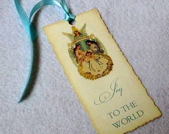 Christmas Gift Tags -  Set of 5 - Victorian - Joy to the World - Baby Jesus