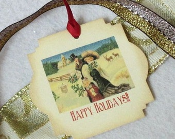 Christmas Gift Tags -  Set of 5 - Victorian - Happy Holidays