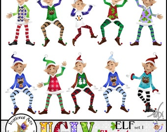 ELF Ugly Christmas set 1 - 10 PNG digital clipart graphics clear backgrounds ugly Christmas sweater Elves