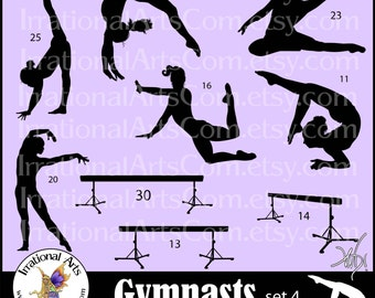 Gymnast Silhouettes Set 4 - 17 Vinyl Ready Images in EPS, SVG, PNG format & small commercial license {Instant Download}