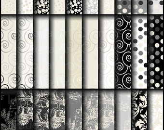 INSTANT DOWNLOAD Ostentatious set 2 includes 35 Digital Scrapbooking Papers black cream grey dots toile swirls damask
