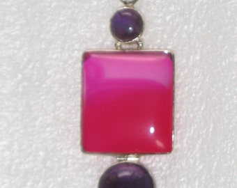 Pink and Purple Agate .925 Silver Large Trendy Pendant