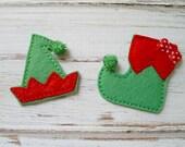 Elf Shoe and Hat Felt Applique, Christmas Elf Embroidered Applique, Christmas Appliques, Holiday Appliques, Elf Appliques