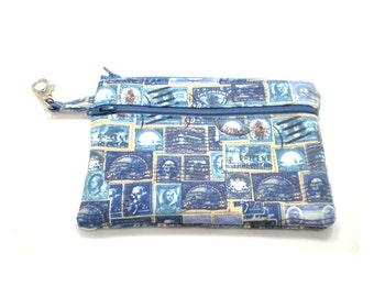 Larger Zippered Wallet Change Purse Gadget Case Blue Stamps
