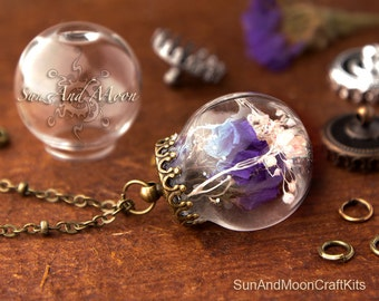5 ~ 25mm Glass Bubble Ball Jewelry with Princess Crown Top - Decorative Antique Design Princess Crown Top
