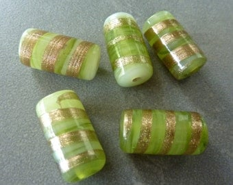 Vintage Lampwork Glass Tube Beads - Light Apple Green with Gold Drizzle 18x12mm (1)