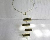 Original Brutalist Modern Necklace Raw Crystals Green Tourmaline C&S