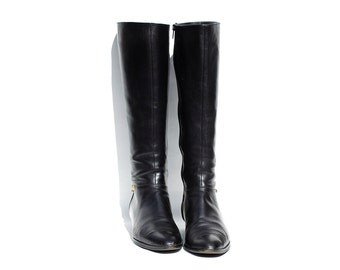 Vintage Italian Black Leather Tall Boots / size 8.5