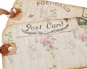 Post Card Gift Tag, Shabby Pink Roses Tag, Vintage Postcard Gift Tags, Party Favor Bag Tag, Pretty Pink and Ecru Tag