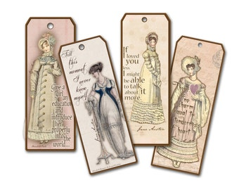 Jane Austen Quotes Bookmarks, Book Club Favor,  Pride and Prejudice  Pemberley Gifts, Literature Bookmark, Gifts for Her,  Regency Gifts