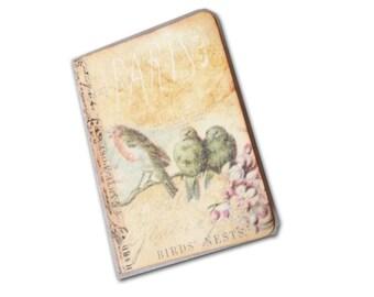 Bird Branch Travel Journal, Paris Birds Journal,  Springtime Nature Journal,  Mini Journal,  Travel Notebook, Journals and Notebooks
