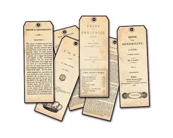 Jane Austen Set of Six Bookmarks - Jane Austen Facsimile Bookfronts, Jane Austen Novels, Pride and Prejudice, Classic Bookmark