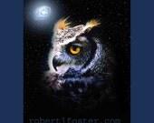 owl art print, great horned owl, bird, hoot, stars, starry night, animal, wildlife, print, painting, hunter, feathers, galaxy, astronomy
