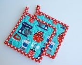 Quilted Potholders, Handmade Potholders, Table Talk Potholders