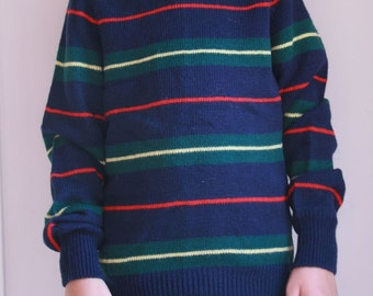 Vintage boys sweater preppy striped crew neck