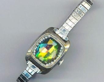 Antique Watch Case Bracelet . Green Swarovski Rhinestone . Genuine Tiny Pearls . Vintage Upcycled - Aurora Borealis by enchantedbeas on Etsy