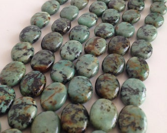 African Turquoise Agate 12x10mm oval strand
