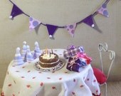 Dollhouse Miniature Happy Birthday Cake Presents Hats and Bunting
