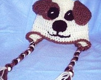 Baby Puppy Hat, Baby Animal Hat With Earflaps and Braids, Crocheted Baby Hat, Baby Photo Prop