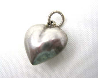 Vintage Silver Puffy Heart Charm - Pendant