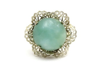 Silver Filigree Ring - Mint Blue Adjustable 800 Silver