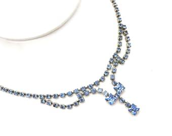 Blue Rhinestone Necklace - Bridal Wedding Costume Jewelry