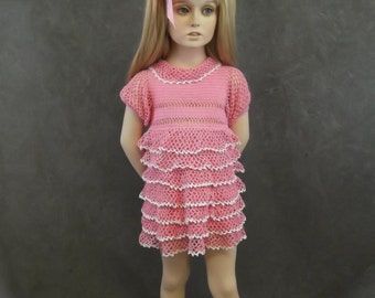 OOAK Pink & White Crochet Cotton Ruffled Party Dress /size 1,2 - Available for immediate shipment