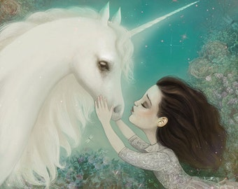 The Unicorn Kiss 12X12 - Unicorn art  print -  fantasy art, unicorn poster emotional art, pastel colors girl illustration --- by Meluseena