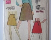 "How to Sew pattern Simplicity 7779 size 14 waist 27"" vintage sewing pattern teaches sewing, beginner, retro, a-line skirt pockets 1968 1960s"