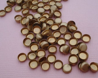 24 Brass 4mm Tiny High Wall Closed Back Settings for Flat Back Cabs or Rhinestone Jewels