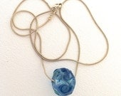 LampWork Recycled GlassWater Beads on Sterling Snake Chain by Kate Drew-Wilkinson
