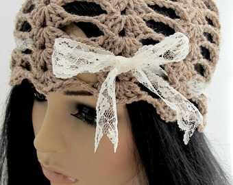 Crocheted Lacy Shell Hat. Brown. Cloche.