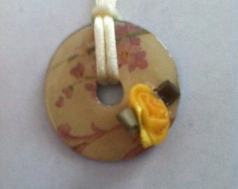Yellow Floral Washer Pendant Necklace
