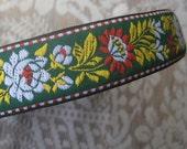 Czech Republic Woven Fabric Traditional Folkloric Trim Jacquard 7/8 Inch Wide 2 Yards Green  CRT 011G