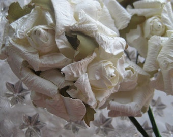 Paper Millinery Flowers 12 Hand Made Shabby Ivory Roses