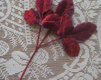 Vintage Millinery Leaves 1950s Germany Red And Blue Shaded Velvet Rose Leaves  VL 067 RB