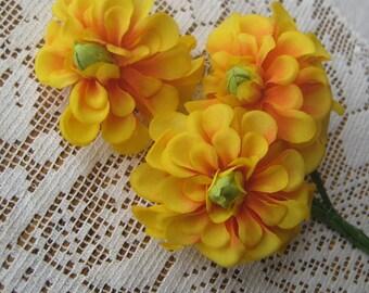 Vintage East Germany 3 Fabric Millinery Dahlia Flowers Cluster  VF 042 YO