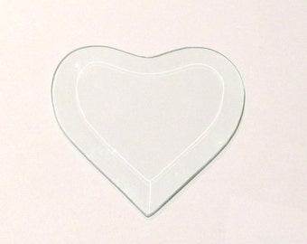 """Clear Glass Heart Bevel 4"""" x 4"""" Stained Glass Component"""