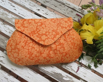 Handmade Orange Clutch, Pleated Purse, Floral Print Accessory, Maid of Honor Gift, Small Little Bag, Summer Style Purse, Pleated Clutch