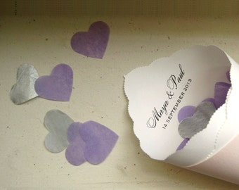 Eco Confetti Hearts for Wedding - White, Pink, Hot Pink, Lilac, Plum, Aqua, Navy Blue, Red, Yellow,  Silver, Gold, Dark Gold, Champagne