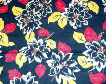 40s, 50s Vintage Cotton Feed Sack,Feedsack Fabric, Black with Flowers, Hibiscus