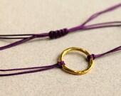 Friendship Bracelet Purple Hammered Gold Karma Circle Bracelet  Macrame Knot