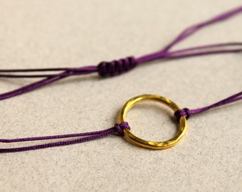 Friendship Bracelet Purple Hammered Gold Karma Circle Bracelet  Macrame Knot